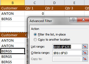 advanced filter in Microsoft Excel