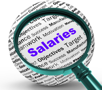 magnifying glass and salaries