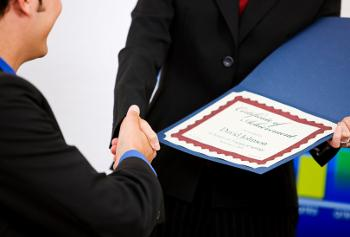 employee receiving award