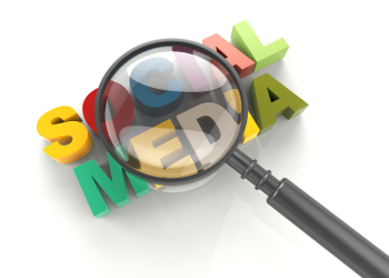 social media and magnifying glass