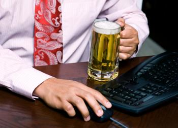businessman drinking beer