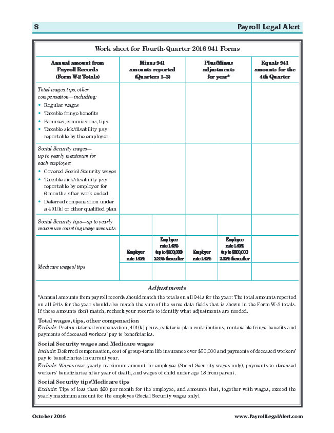 Work sheet for Fourth-Quarter 2016 941 Forms
