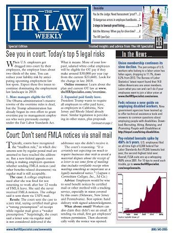 HR LAW WEEKLY newsletter