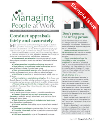 Managing People at Work Sample Issue