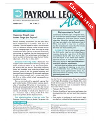 Payroll Legal Alert Sample Issue