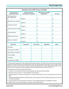 Worksheet for 2017 Forms W-3/941
