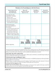 Worksheet for Fourth-Quarter 2017 941 Forms