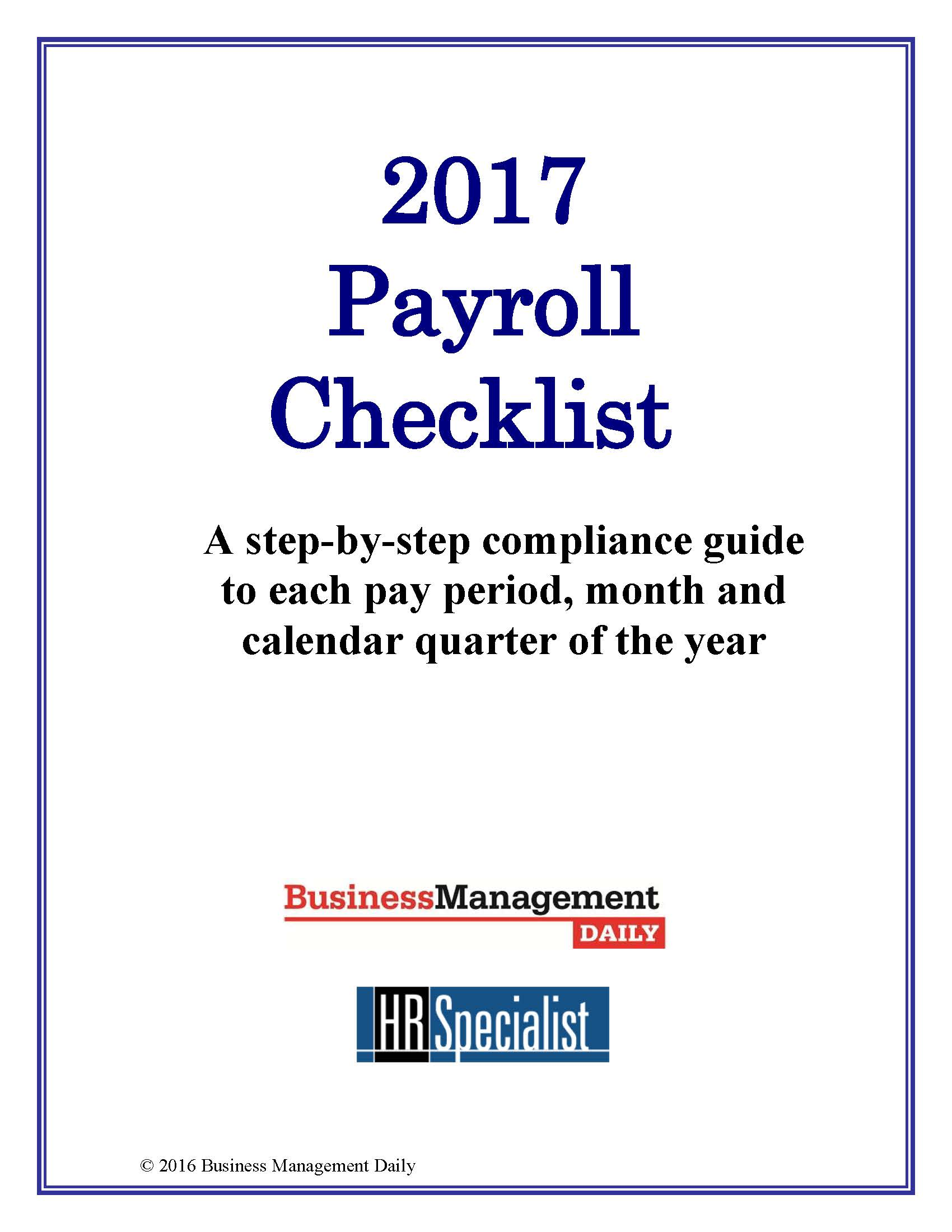 The 2017 Payroll Checklist
