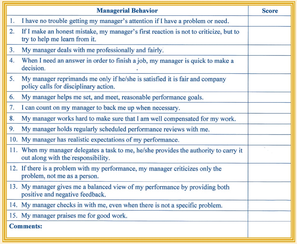 Manager's evaluation