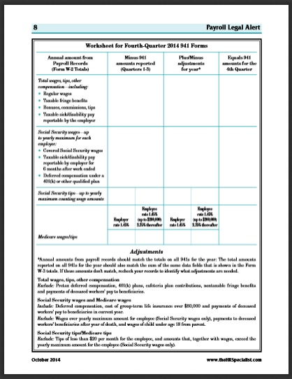 Worksheet for fourth quarter 2014 941 forms — Business Management ...