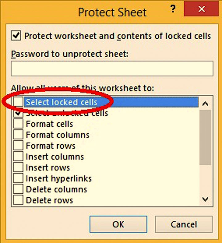 and in the changes group click on protect sheet uncheck select locked cells and give it a password optional now your form can only be filled from