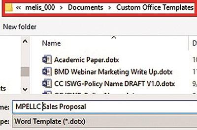 Custom office templates
