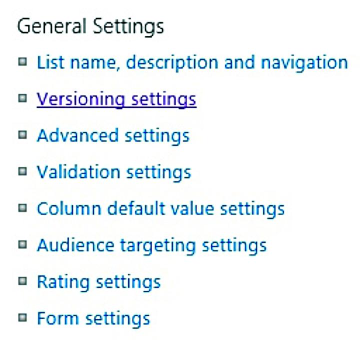Versioning settings