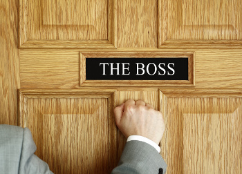 the boss sign on door