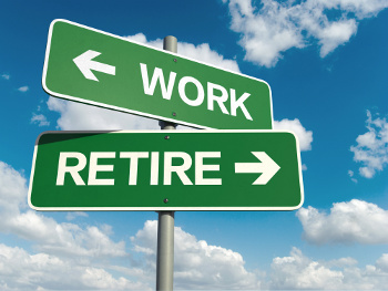 work or retire sign