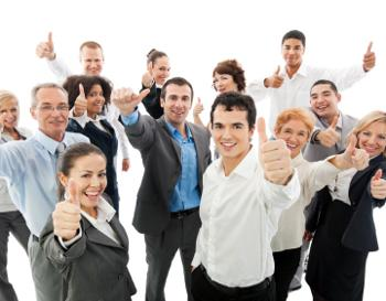 employees with their thumbs up