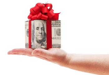 gift wrapped with money