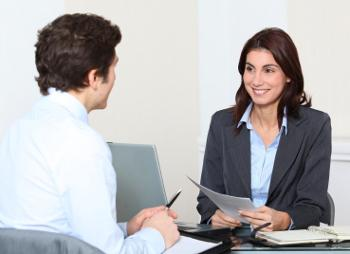 business woman interviewing job applicant