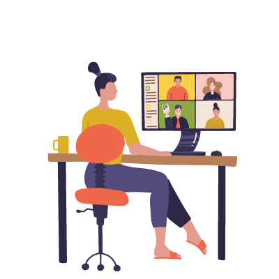 virtual onboarding, remote onboarding, remote new hire, new employees, working remotely 400x400 video call